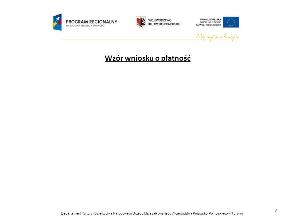 Wzór opisu faktury/innego dokumentu księgowego terminy płatności; faktury VAT (wyliczenie netto, brutto, wysokość podatku VAT); format faktury/ innego dokumentu księgowego - najlepiej A4; nie wprowadzać zmian po złożeniu dokumentu do Urzędu Marszałkowskiego; w przypadku wprowadzenia zmian, należy przekreślić i zaparafować oraz złożyć kopię do Urzędu Marszałkowskiego; dopiski, podpisy, pieczątki TYLKO na oryginałach dokumentów; 9 Departament Kultury i Dziedzictwa Narodowego Urzędu Marszałkowskiego Województwa Kujawsko-Pomorskiego w Toruniu