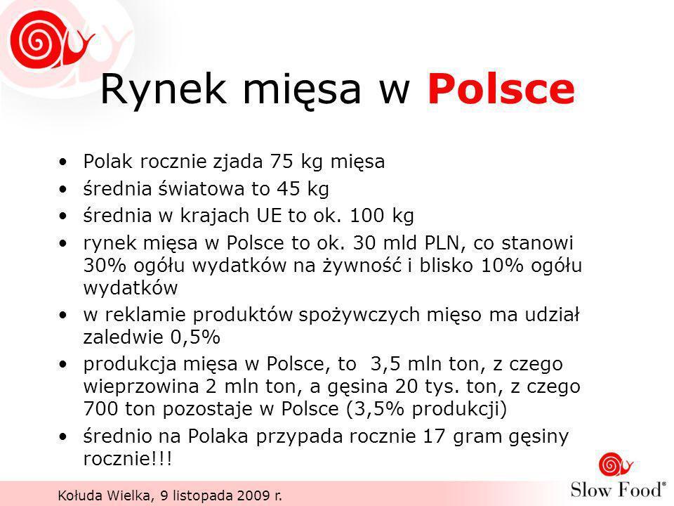 Kołuda Wielka, 9 listopada 2009 r. Rynek mięsa w Polsce Polak rocznie zjada 75 kg mięsa średnia światowa to 45 kg średnia w krajach UE to ok. 100 kg r