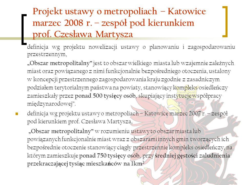 Projekt ustawy o metropoliach – Katowice marzec 2008 r. – zespół pod kierunkiem prof. Czesława Martysza definicja wg projektu nowelizacji ustawy o pla