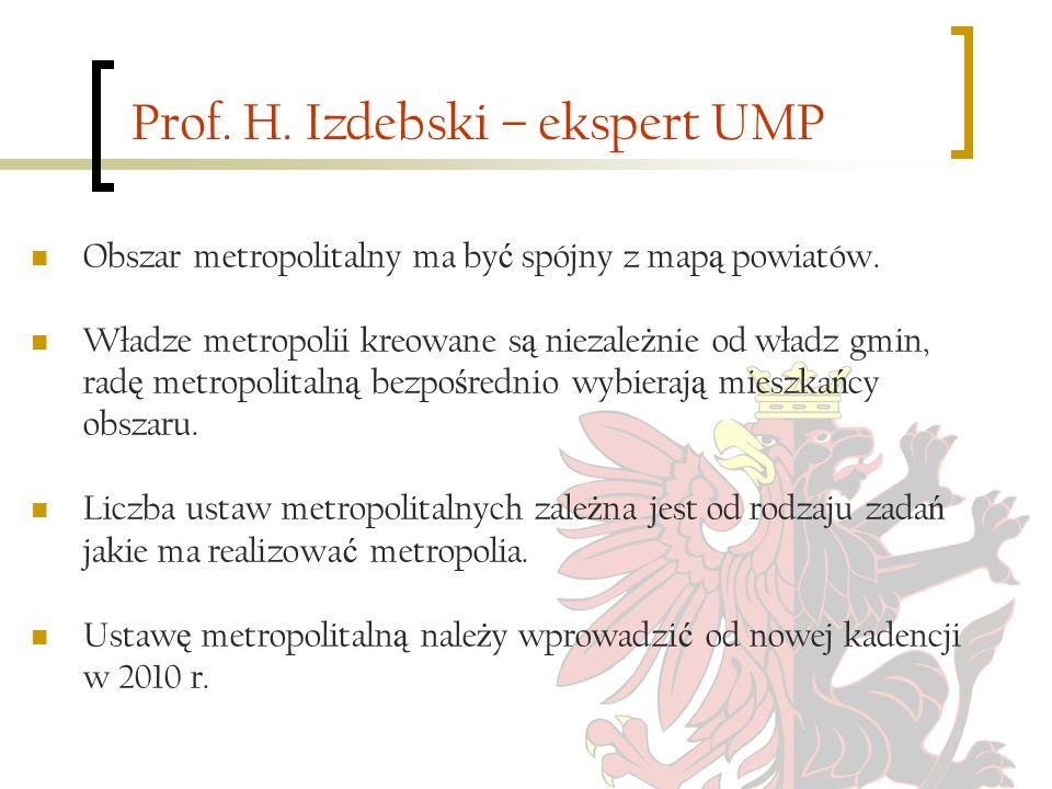 Prof. H. Izdebski – ekspert UMP Obszar metropolitalny ma by ć spójny z map ą powiatów. Władze metropolii kreowane s ą niezale ż nie od władz gmin, rad