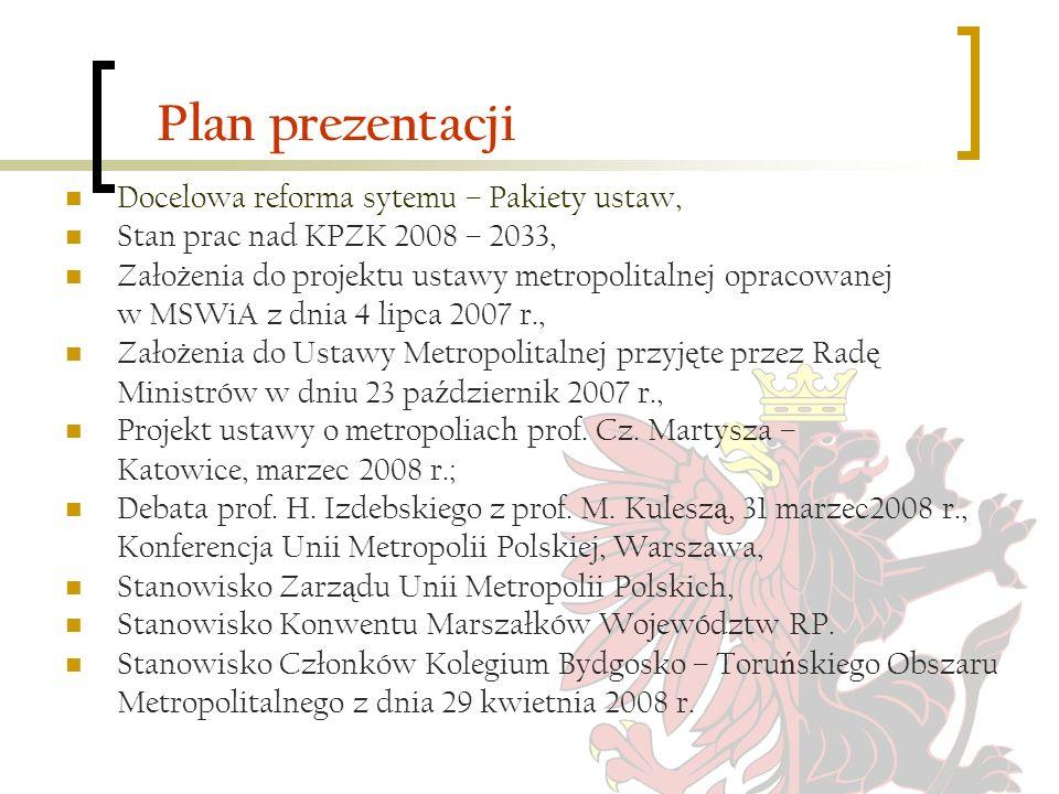 Plan prezentacji Docelowa reforma sytemu – Pakiety ustaw, Stan prac nad KPZK 2008 – 2033, Zało ż enia do projektu ustawy metropolitalnej opracowanej w