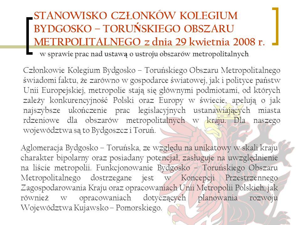 STANOWISKO CZŁONKÓW KOLEGIUM BYDGOSKO – TORU Ń SKIEGO OBSZARU METRPOLITALNEGO z dnia 29 kwietnia 2008 r.