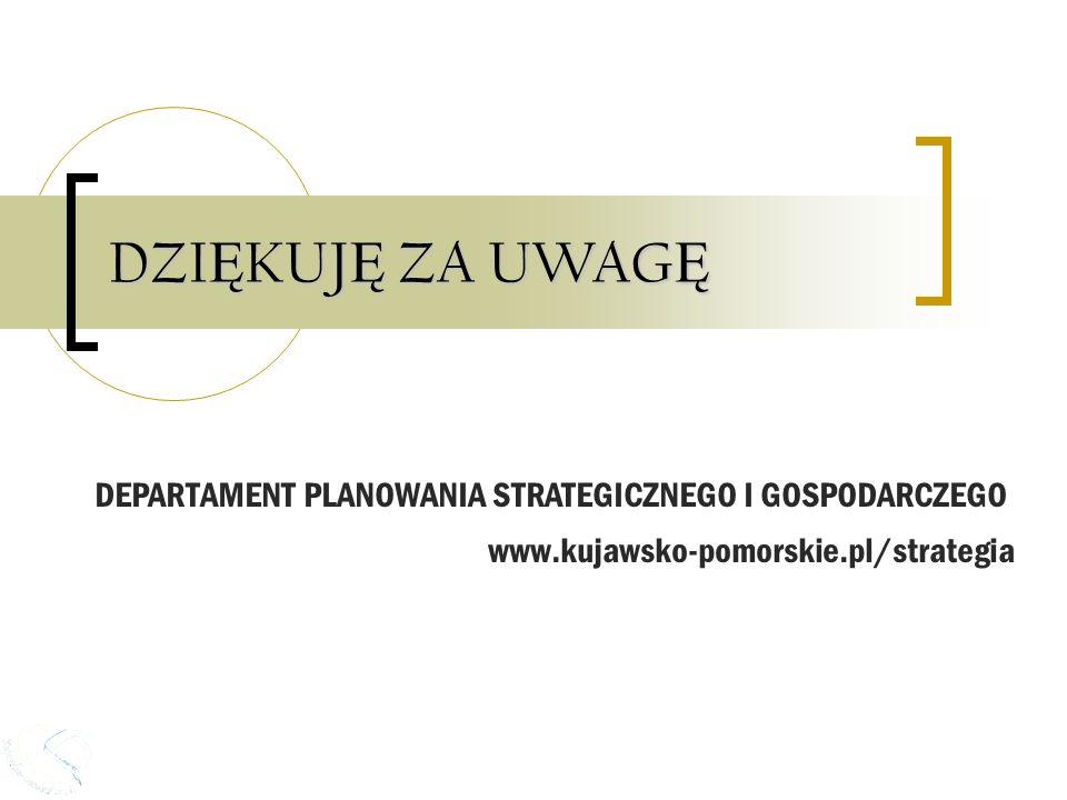 DZI Ę KUJ Ę ZA UWAG Ę DEPARTAMENT PLANOWANIA STRATEGICZNEGO I GOSPODARCZEGO www.kujawsko-pomorskie.pl/strategia