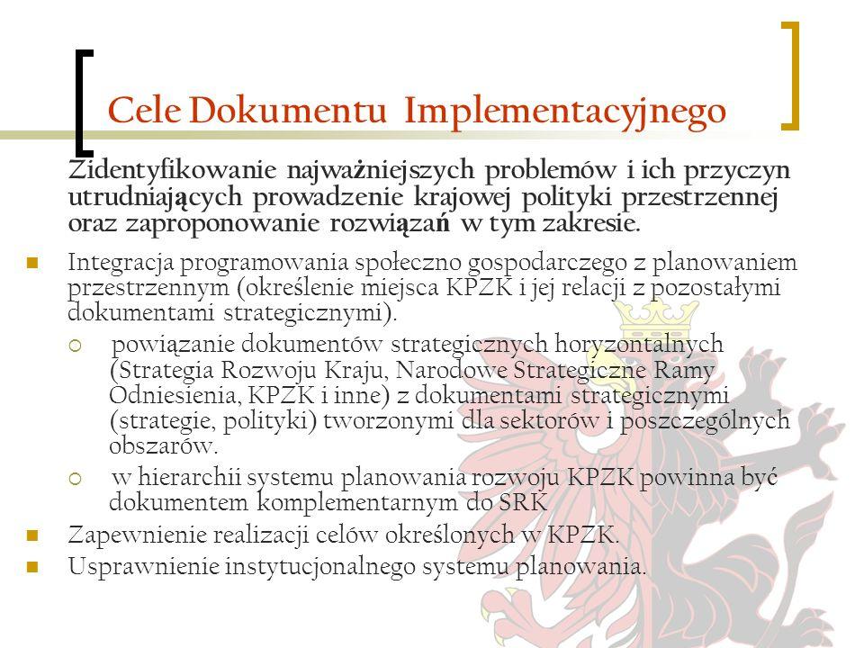 Cele Dokumentu Implementacyjnego Zidentyfikowanie najwa ż niejszych problemów i ich przyczyn utrudniaj ą cych prowadzenie krajowej polityki przestrzen