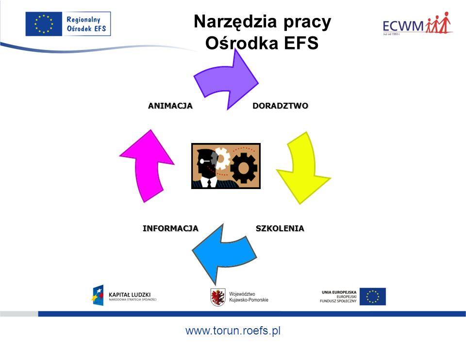 www.torun.roefs.pl Ścieżka współpracy z RO EFS seminaria animacyjne, spotkania grup roboczych, warsztaty z zakresu tworzenia partnerstw lokalnych, opracowanie zakresu, celów, zasad współpracy, szkolenia dla grup partnerskich: przygotowywanie projektów oraz zasady aplikowania o środki EFS, rozliczanie projektów PO KL, planowanie działań, strategia rozwoju partnerstwa, doradztwo na każdym etapie projektowania i tworzenia wniosku, przepływ informacji – mailing/newsletter,