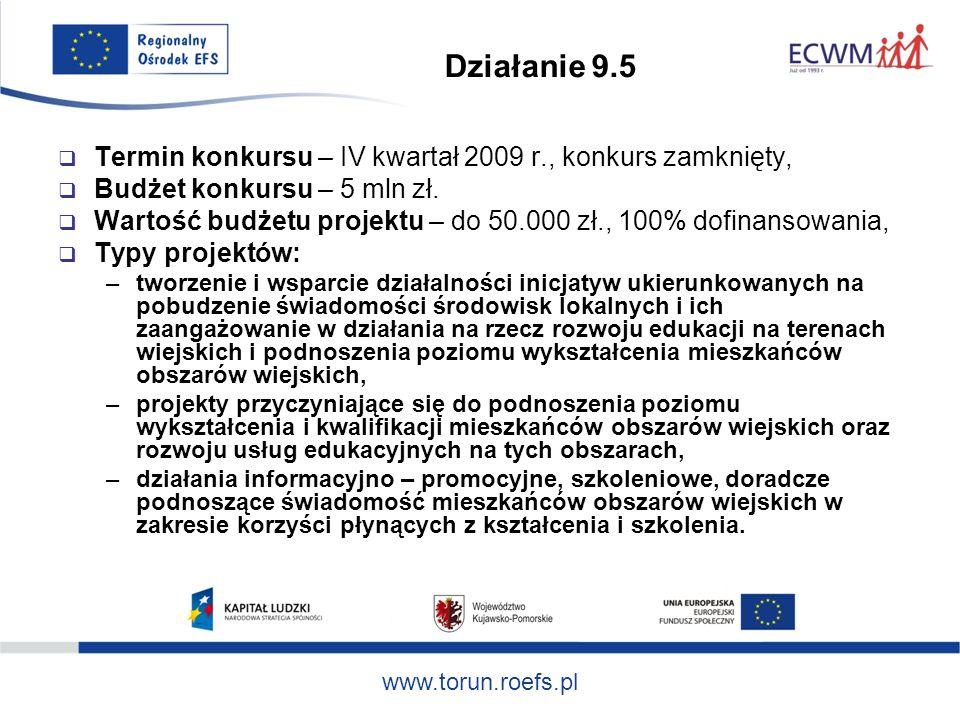 Działanie 9.5 Termin konkursu – IV kwartał 2009 r., konkurs zamknięty, Budżet konkursu – 5 mln zł.