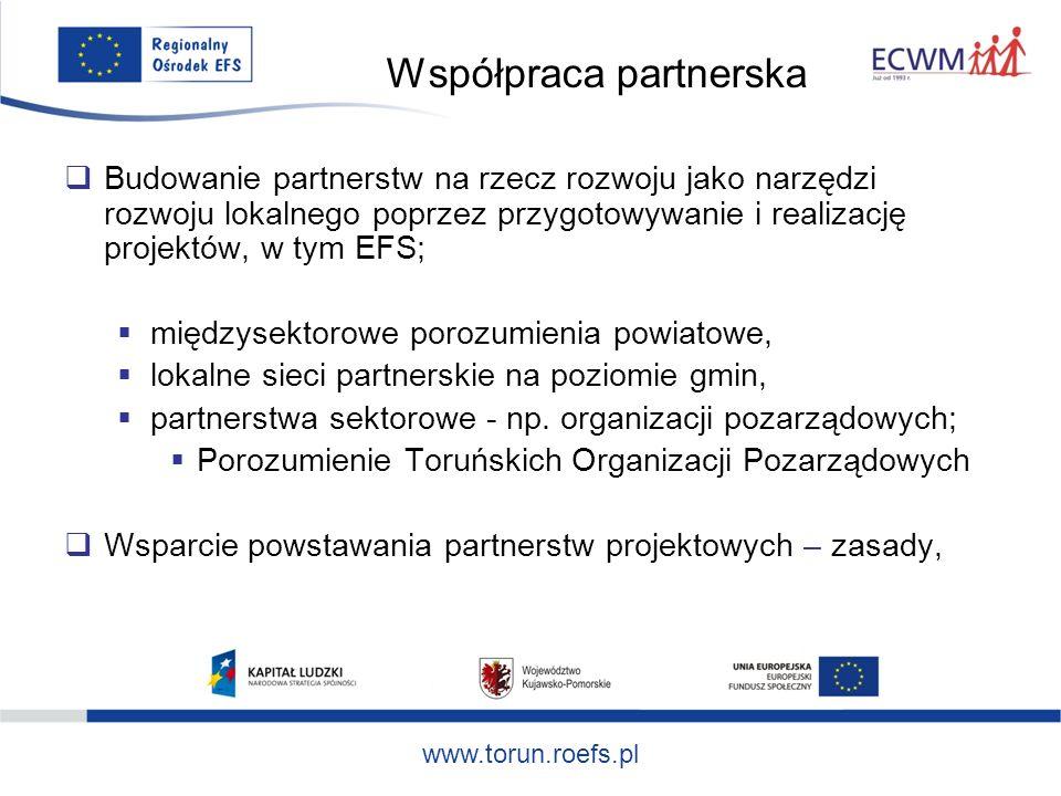 www.torun.roefs.pl Współpraca partnerska Budowanie partnerstw na rzecz rozwoju jako narzędzi rozwoju lokalnego poprzez przygotowywanie i realizację projektów, w tym EFS; międzysektorowe porozumienia powiatowe, lokalne sieci partnerskie na poziomie gmin, partnerstwa sektorowe - np.
