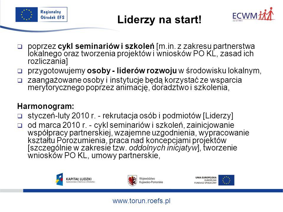 www.torun.roefs.pl Liderzy na start. poprzez cykl seminariów i szkoleń [m.in.
