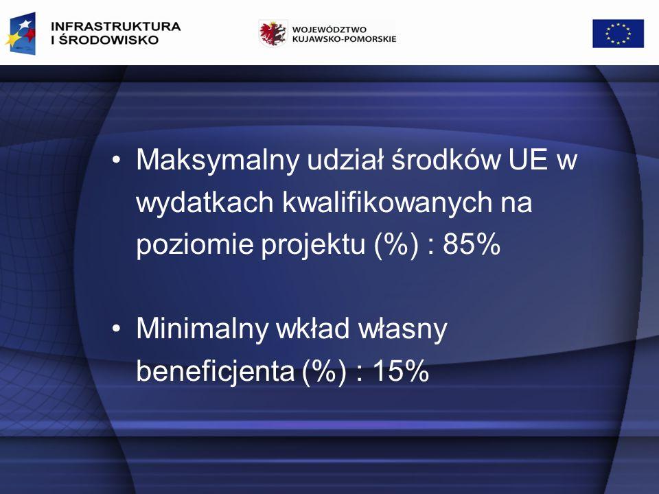 Maksymalny udział środków UE w wydatkach kwalifikowanych na poziomie projektu (%) : 85% Minimalny wkład własny beneficjenta (%) : 15%