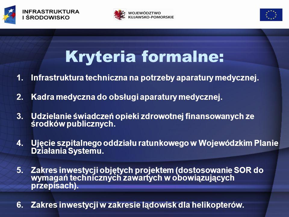 Kryteria formalne: 1.Infrastruktura techniczna na potrzeby aparatury medycznej.