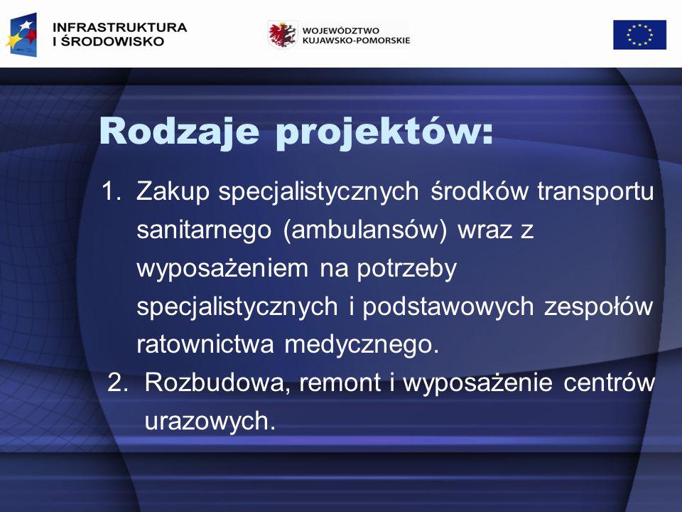 I.Zakup specjalistycznych środków transportu sanitarnego (ambulansów) wraz z wyposażeniem na potrzeby specjalistycznych i podstawowych zespołów ratownictwa medycznego.