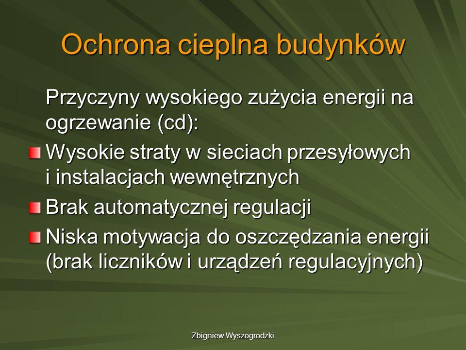 Zbigniew Wyszogrodzki Ochrona cieplna budynków Przyczyny wysokiego zużycia energii na ogrzewanie (cd): Wysokie straty w sieciach przesyłowych i instal