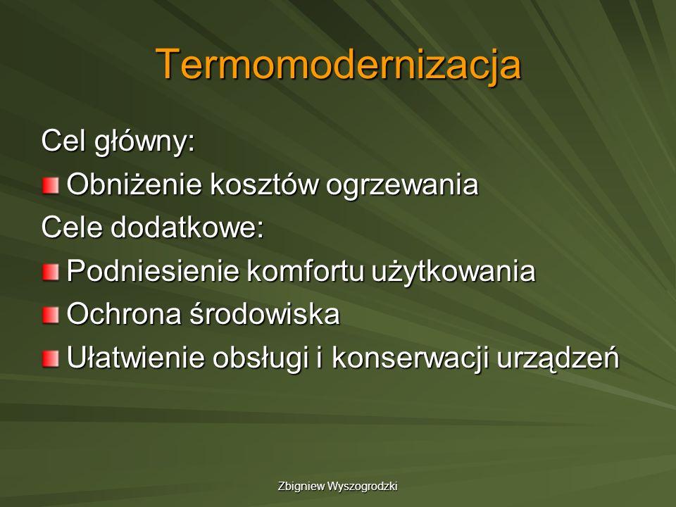 Zbigniew Wyszogrodzki Termomodernizacja Cel główny: Obniżenie kosztów ogrzewania Cele dodatkowe: Podniesienie komfortu użytkowania Ochrona środowiska