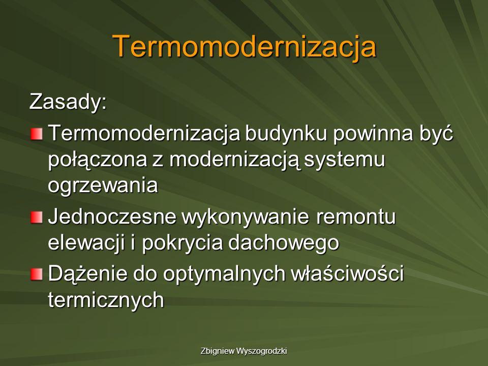 Zbigniew Wyszogrodzki Termomodernizacja Zasady: Termomodernizacja budynku powinna być połączona z modernizacją systemu ogrzewania Jednoczesne wykonywa
