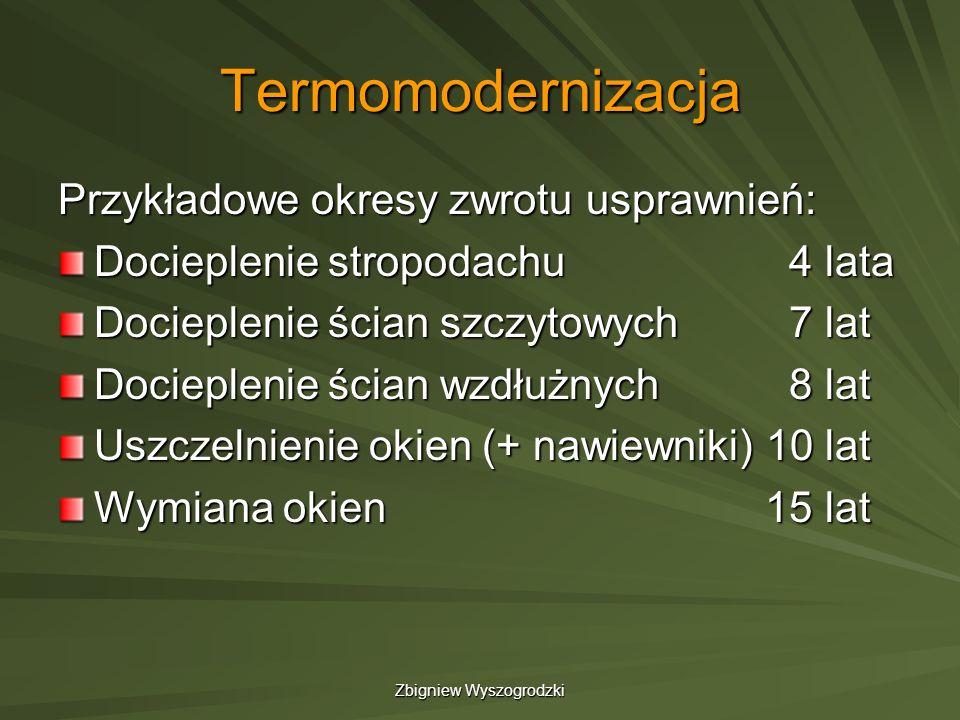 Zbigniew Wyszogrodzki Termomodernizacja Przykładowe okresy zwrotu usprawnień: Docieplenie stropodachu 4 lata Docieplenie ścian szczytowych 7 lat Docie