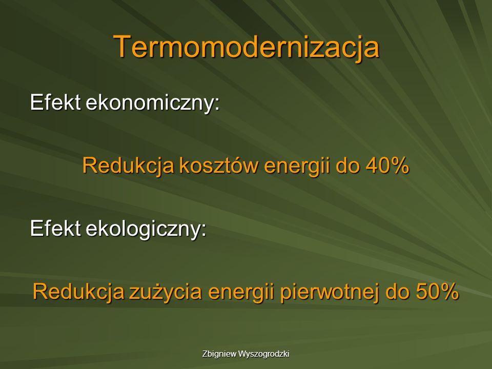 Zbigniew Wyszogrodzki Termomodernizacja Efekt ekonomiczny: Redukcja kosztów energii do 40% Efekt ekologiczny: Redukcja zużycia energii pierwotnej do 5