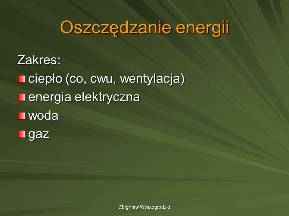 Zbigniew Wyszogrodzki Oszczędność energii w budynkach Zasady użytkowania budynku: 1.