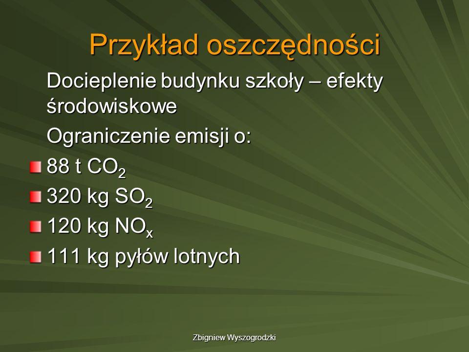 Zbigniew Wyszogrodzki Przykład oszczędności Docieplenie budynku szkoły – efekty środowiskowe Ograniczenie emisji o: 88 t CO 2 320 kg SO 2 120 kg NO x