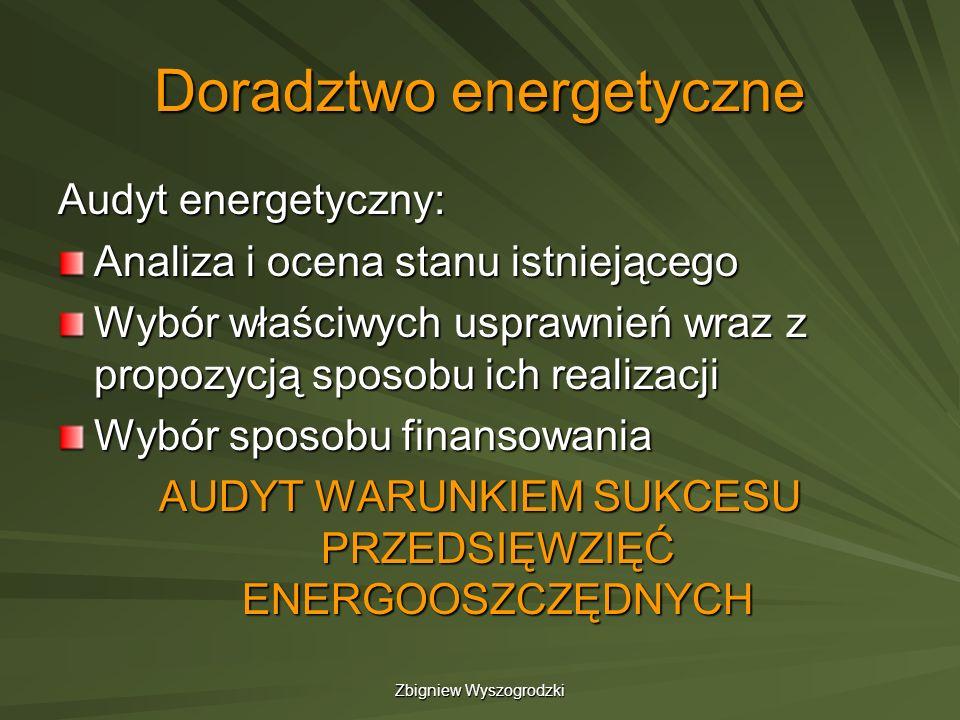 Zbigniew Wyszogrodzki Doradztwo energetyczne Audyt energetyczny: Analiza i ocena stanu istniejącego Wybór właściwych usprawnień wraz z propozycją spos