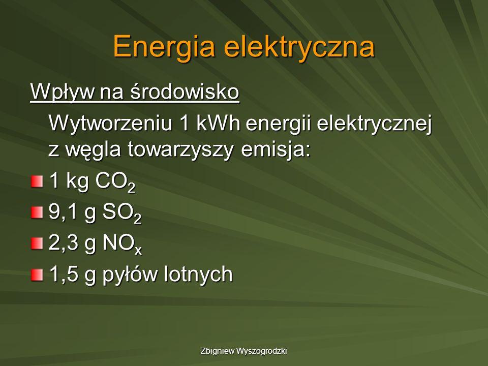Zbigniew Wyszogrodzki Energia elektryczna Wpływ na środowisko Wytworzeniu 1 kWh energii elektrycznej z węgla towarzyszy emisja: 1 kg CO 2 9,1 g SO 2 2