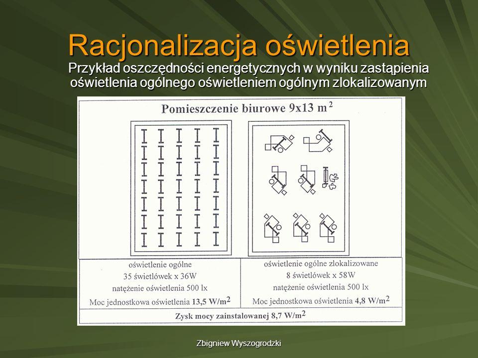 Zbigniew Wyszogrodzki Racjonalizacja oświetlenia Przykład oszczędności energetycznych w wyniku zastąpienia oświetlenia ogólnego oświetleniem ogólnym z