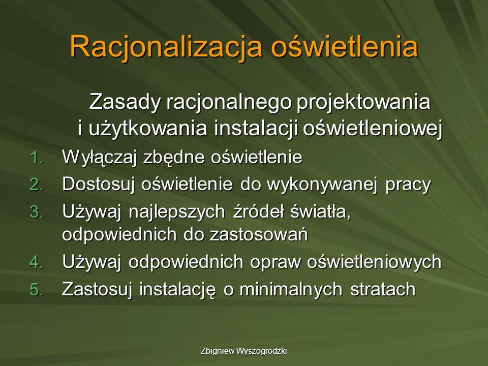 Zbigniew Wyszogrodzki Racjonalizacja oświetlenia Zasady racjonalnego projektowania i użytkowania instalacji oświetleniowej 1. Wyłączaj zbędne oświetle