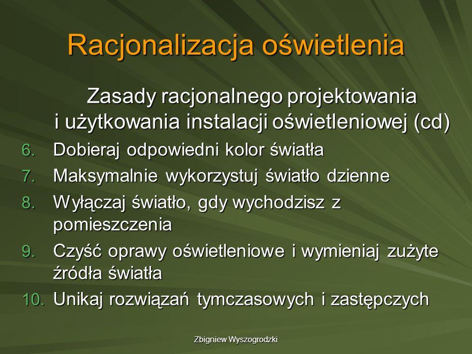 Zbigniew Wyszogrodzki Racjonalizacja oświetlenia Zasady racjonalnego projektowania i użytkowania instalacji oświetleniowej (cd) 6. Dobieraj odpowiedni
