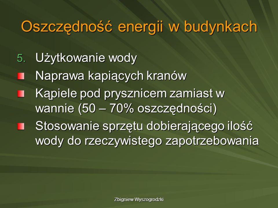 Zbigniew Wyszogrodzki Oszczędność energii w budynkach 5. Użytkowanie wody Naprawa kapiących kranów Kąpiele pod prysznicem zamiast w wannie (50 – 70% o