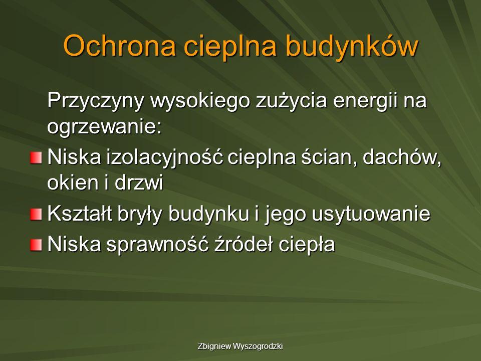 Zbigniew Wyszogrodzki Ochrona cieplna budynków Przyczyny wysokiego zużycia energii na ogrzewanie: Niska izolacyjność cieplna ścian, dachów, okien i dr