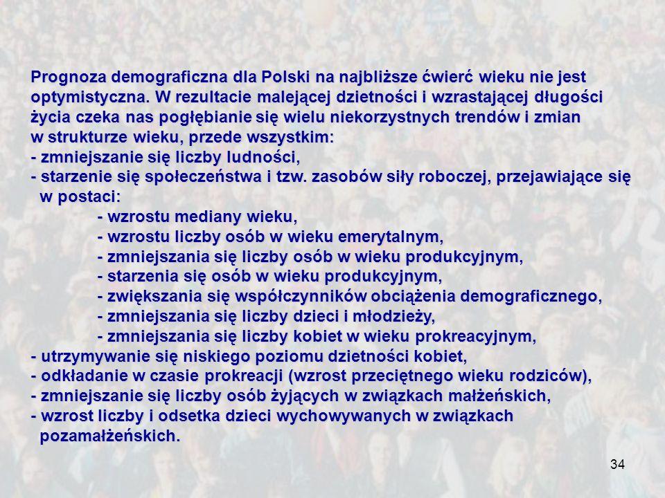 34 Prognoza demograficzna dla Polski na najbliższe ćwierć wieku nie jest optymistyczna. W rezultacie malejącej dzietności i wzrastającej długości życi