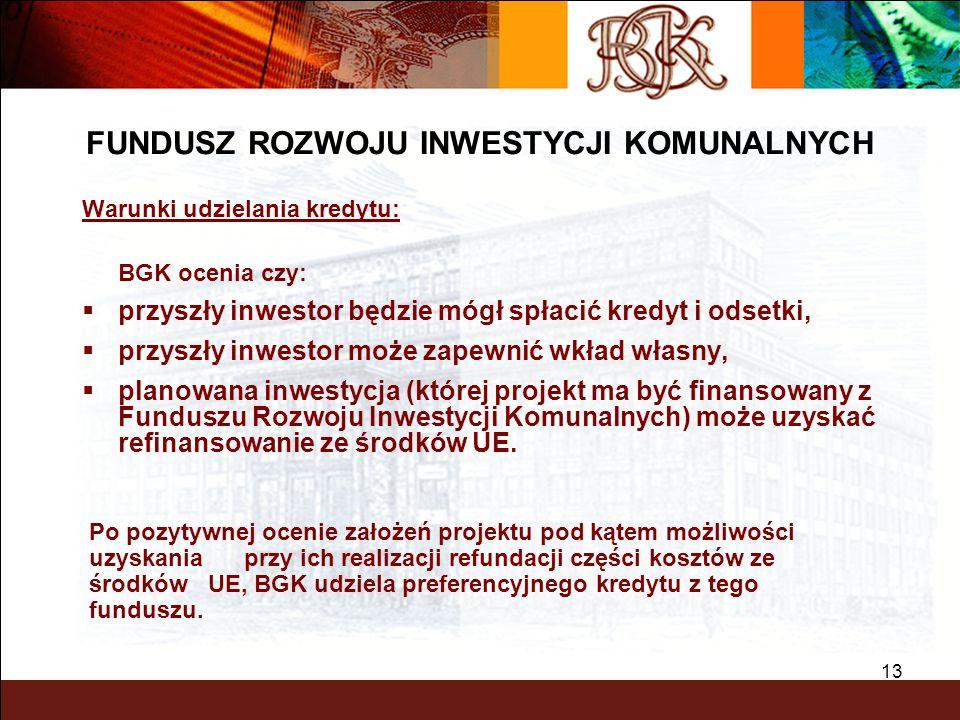 BGK – PEWNY PARTNER 13 Warunki udzielania kredytu: BGK ocenia czy: przyszły inwestor będzie mógł spłacić kredyt i odsetki, przyszły inwestor może zape