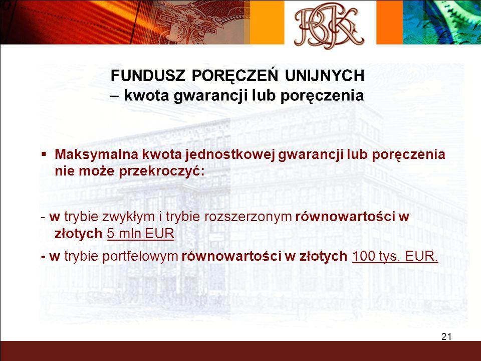BGK – PEWNY PARTNER 21 Maksymalna kwota jednostkowej gwarancji lub poręczenia nie może przekroczyć: - w trybie zwykłym i trybie rozszerzonym równowart