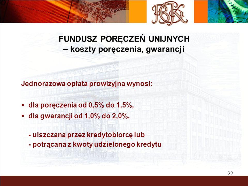 BGK – PEWNY PARTNER 22 Jednorazowa opłata prowizyjna wynosi: dla poręczenia od 0,5% do 1,5%, dla gwarancji od 1,0% do 2,0%. - uiszczana przez kredytob