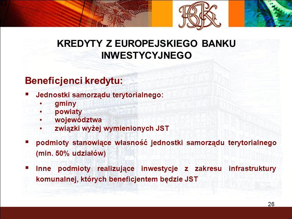 BGK – PEWNY PARTNER 26 Beneficjenci kredytu: Jednostki samorządu terytorialnego: gminy powiaty województwa związki wyżej wymienionych JST podmioty sta