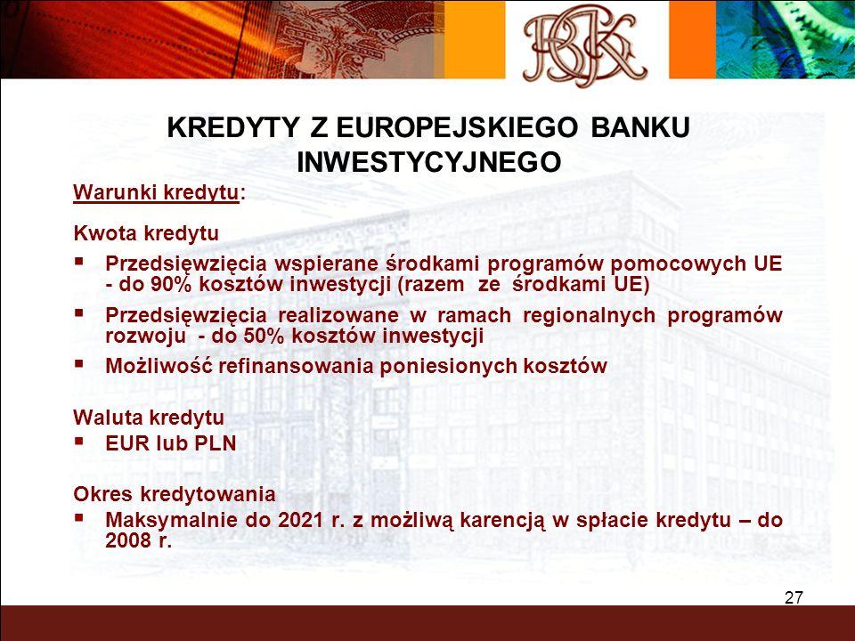 BGK – PEWNY PARTNER 27 Warunki kredytu: Kwota kredytu Przedsięwzięcia wspierane środkami programów pomocowych UE - do 90% kosztów inwestycji (razem ze