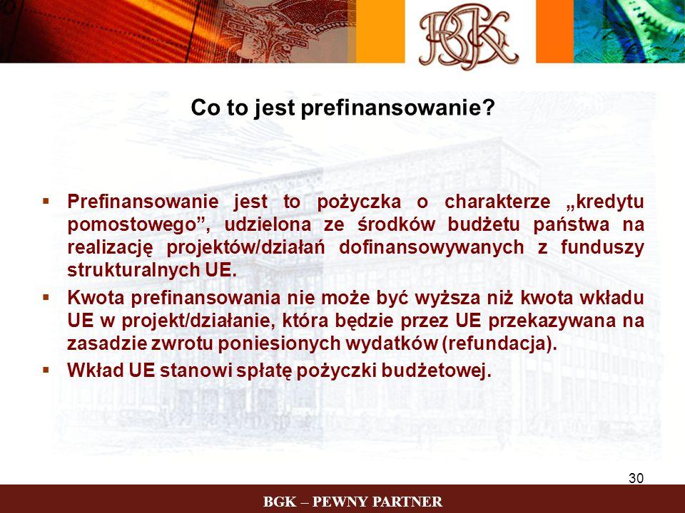 BGK – PEWNY PARTNER 30 Prefinansowanie jest to pożyczka o charakterze kredytu pomostowego, udzielona ze środków budżetu państwa na realizację projektó