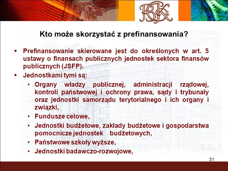 BGK – PEWNY PARTNER 31 Prefinansowanie skierowane jest do określonych w art. 5 ustawy o finansach publicznych jednostek sektora finansów publicznych (