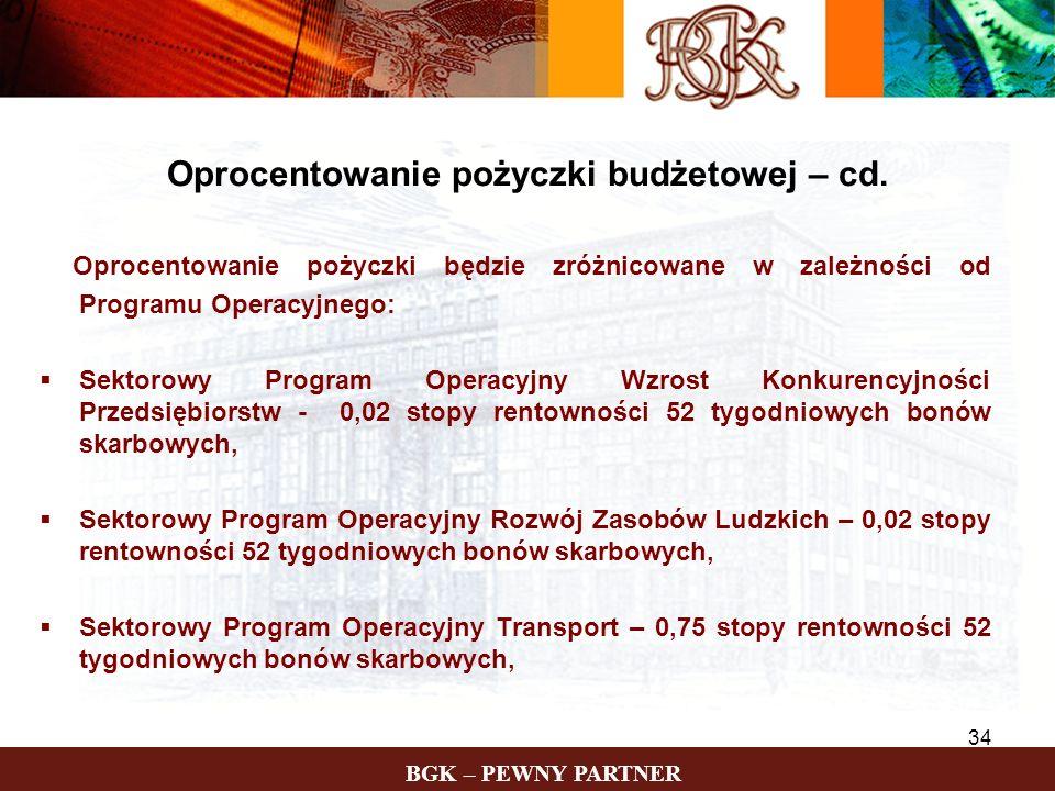 BGK – PEWNY PARTNER 34 Oprocentowanie pożyczki będzie zróżnicowane w zależności od Programu Operacyjnego: Sektorowy Program Operacyjny Wzrost Konkuren