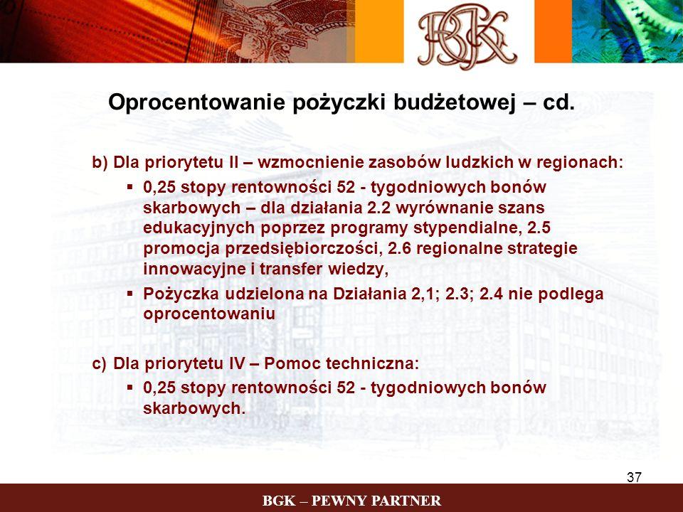 BGK – PEWNY PARTNER 37 b)Dla priorytetu II – wzmocnienie zasobów ludzkich w regionach: 0,25 stopy rentowności 52 - tygodniowych bonów skarbowych – dla