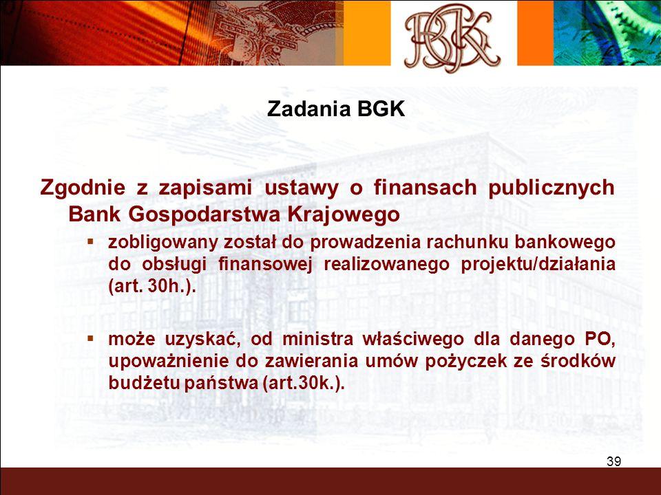 BGK – PEWNY PARTNER 39 Zgodnie z zapisami ustawy o finansach publicznych Bank Gospodarstwa Krajowego zobligowany został do prowadzenia rachunku bankow