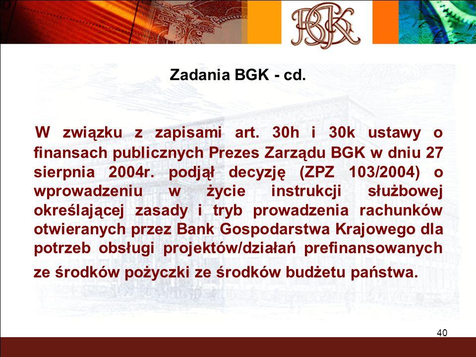 BGK – PEWNY PARTNER 40 W związku z zapisami art. 30h i 30k ustawy o finansach publicznych Prezes Zarządu BGK w dniu 27 sierpnia 2004r. podjął decyzję