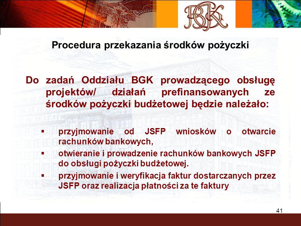 BGK – PEWNY PARTNER 41 Do zadań Oddziału BGK prowadzącego obsługę projektów/ działań prefinansowanych ze środków pożyczki budżetowej będzie należało: