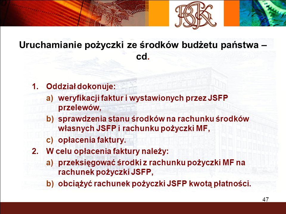 BGK – PEWNY PARTNER 47 1.Oddział dokonuje: a)weryfikacji faktur i wystawionych przez JSFP przelewów, b)sprawdzenia stanu środków na rachunku środków w