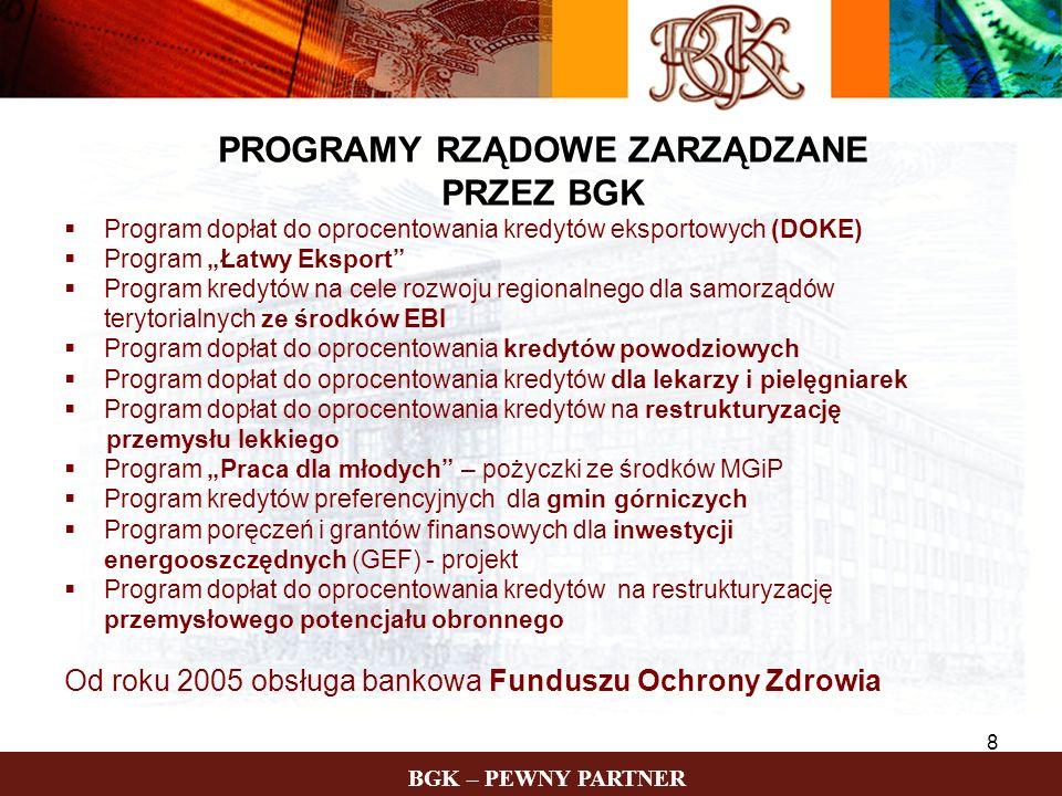 BGK – PEWNY PARTNER 8 PROGRAMY RZĄDOWE ZARZĄDZANE PRZEZ BGK Program dopłat do oprocentowania kredytów eksportowych (DOKE) Program Łatwy Eksport Progra