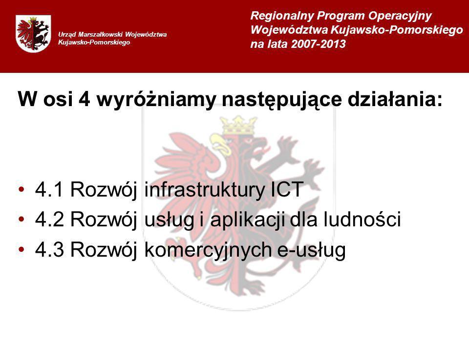 W osi 4 wyróżniamy następujące działania: 4.1 Rozwój infrastruktury ICT 4.2 Rozwój usług i aplikacji dla ludności 4.3 Rozwój komercyjnych e-usług Urząd Marszałkowski Województwa Kujawsko-Pomorskiego Regionalny Program Operacyjny Województwa Kujawsko-Pomorskiego na lata 2007-2013