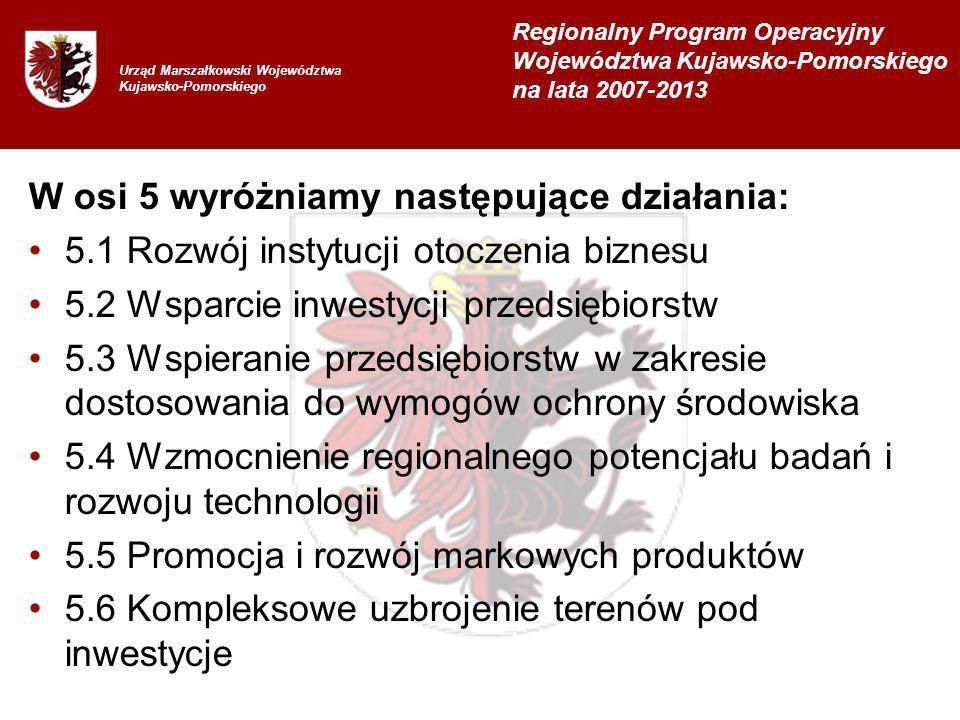 W osi 5 wyróżniamy następujące działania: 5.1 Rozwój instytucji otoczenia biznesu 5.2 Wsparcie inwestycji przedsiębiorstw 5.3 Wspieranie przedsiębiorstw w zakresie dostosowania do wymogów ochrony środowiska 5.4 Wzmocnienie regionalnego potencjału badań i rozwoju technologii 5.5 Promocja i rozwój markowych produktów 5.6 Kompleksowe uzbrojenie terenów pod inwestycje Urząd Marszałkowski Województwa Kujawsko-Pomorskiego Regionalny Program Operacyjny Województwa Kujawsko-Pomorskiego na lata 2007-2013