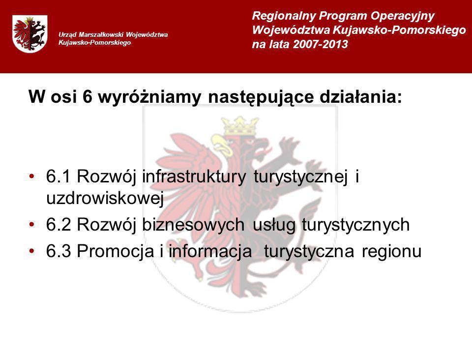 W osi 6 wyróżniamy następujące działania: 6.1 Rozwój infrastruktury turystycznej i uzdrowiskowej 6.2 Rozwój biznesowych usług turystycznych 6.3 Promocja i informacja turystyczna regionu Urząd Marszałkowski Województwa Kujawsko-Pomorskiego Regionalny Program Operacyjny Województwa Kujawsko-Pomorskiego na lata 2007-2013