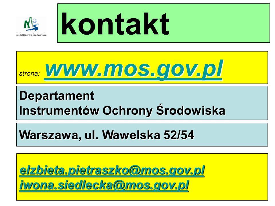 kontakt www.mos.gov.pl www.mos.gov.pl strona: www.mos.gov.pl www.mos.gov.pl Departament Instrumentów Ochrony Środowiska Warszawa, ul.