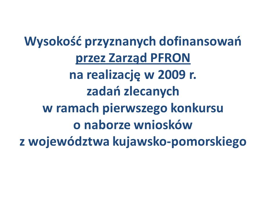 Wysokość przyznanych dofinansowań przez Zarząd PFRON na realizację w 2009 r. zadań zlecanych w ramach pierwszego konkursu o naborze wniosków z wojewód
