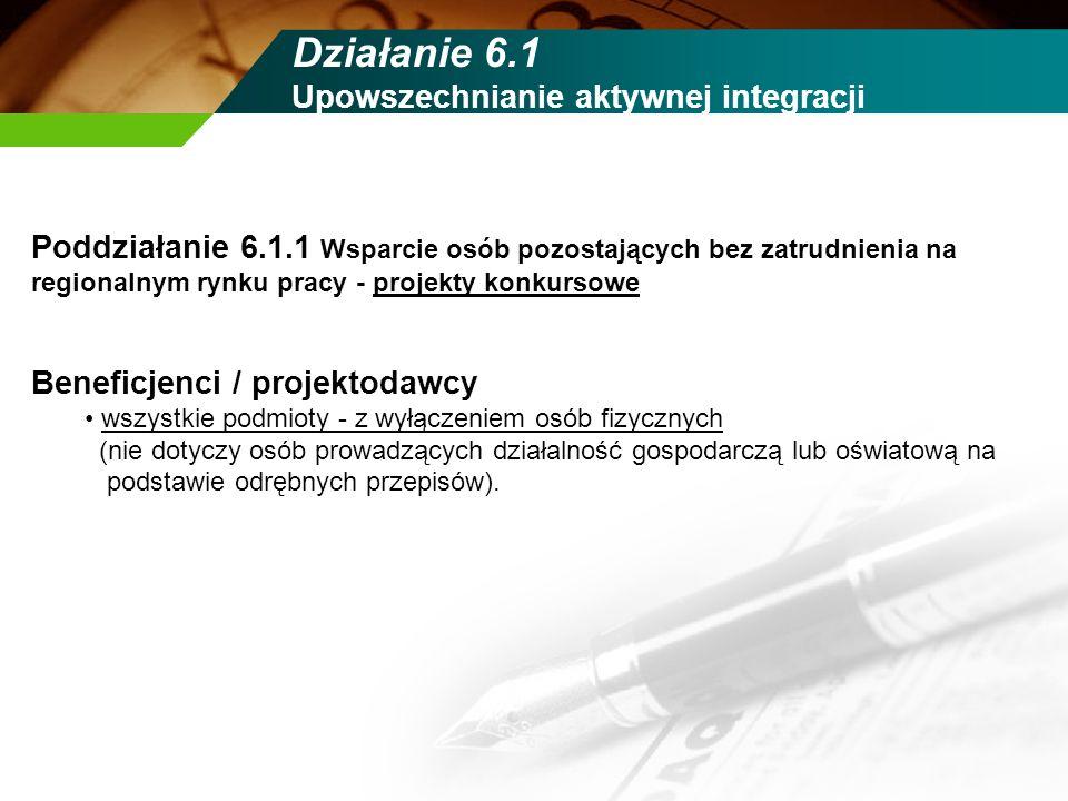 Działanie 6.1 Upowszechnianie aktywnej integracji Poddziałanie 6.1.1 Wsparcie osób pozostających bez zatrudnienia na regionalnym rynku pracy - projekt
